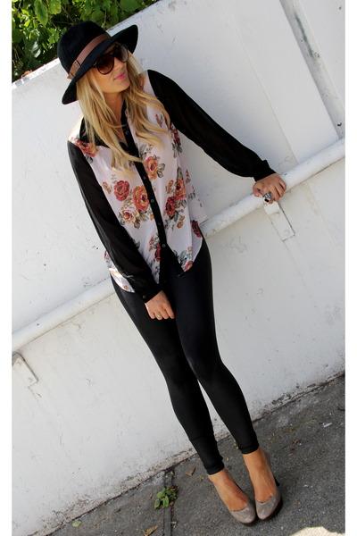 ivory Forever 21 blouse - black shiny American Apparel leggings