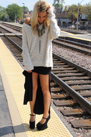 off white fuzzy free people sweater - black nightwalk akira shoes heels
