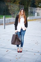 brick red Meliani heels - blue LeRock jeans - brown gazel bag