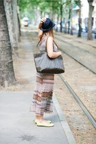dark khaki gazel dress - navy emporio armani hat - charcoal gray Fendi bag