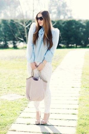 light pink Laura bag - aquamarine carolinaemme shirt - sky blue H&amp;M pants