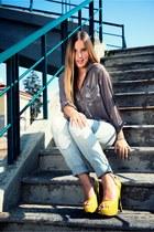 heather gray H&M blouse - sky blue LeRock jeans - mustard Primadonna heels