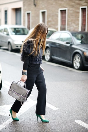 black Chloe cardigan - dark gray MaxMara jacket - black versace pants