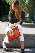 teal armani blouse - maroon Trussardi bag - peach armani pants