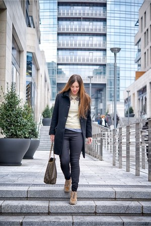 black versace coat - brown Fendi bag - heather gray Burberry blouse
