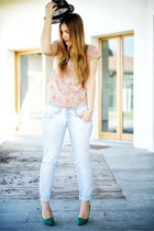 eggshell gazel shirt - aquamarine H&M jeans - black armani hat