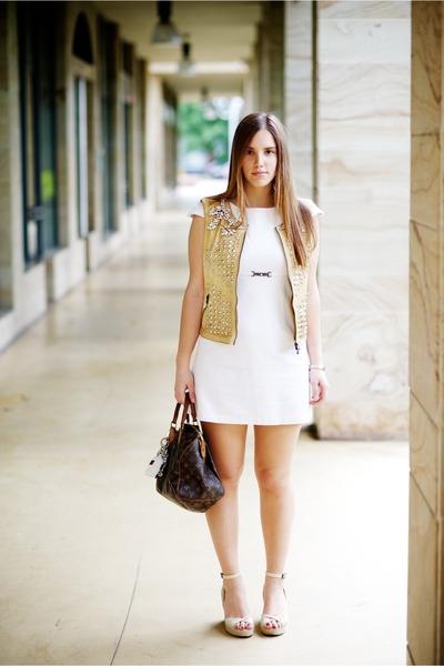 camel LeRock jacket - brown Louis Vuitton bag