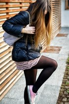light pink Converse shoes - bubble gum gazel dress - black fay coat