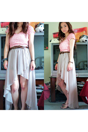 peach cropped Wet Seal top - beige high-low Love Culture skirt