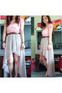 Peach-cropped-wet-seal-top-beige-high-low-love-culture-skirt