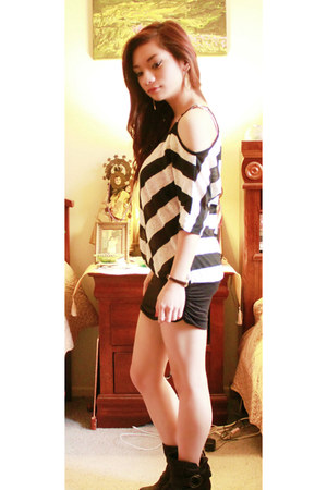 black heeled boots - white striped dress