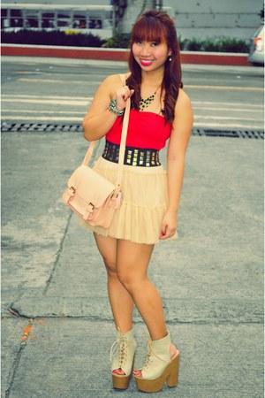 peach satchel Landmark Dept bag - cream tutu Forever 21 skirt