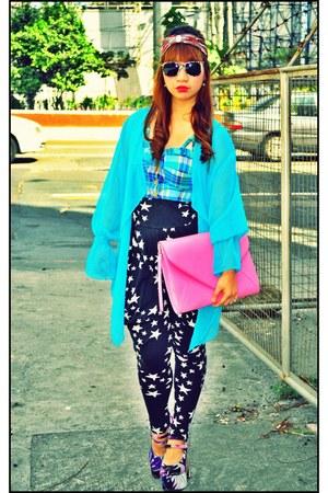 turquoise blue sheer kimono thrifted jacket