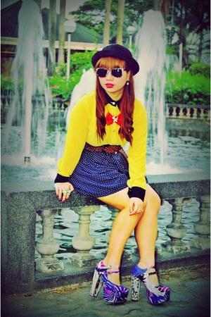 yellow Pink Manila top - navy thrifted skirt - violet Folded and Hung heels