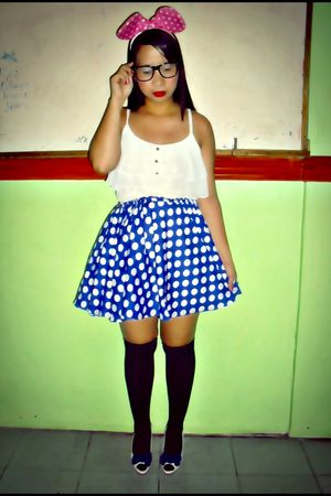 white Thrift Store top - blue DIY skirt - black - random from Hong Kong shoes
