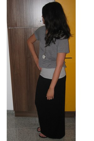 heather gray H&M shirt - black H&M skirt - silver Gap top
