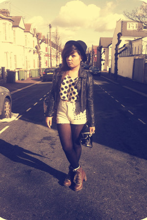 gifted jacket - Primark boots - f21 hat - charity shop  DIY shorts - Ebay top