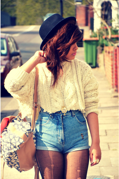 primark DIY jumper - Forever 21 hat - Primark bag - vintage shorts
