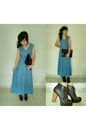 navy denim Jun Missoni dress - black faux leather junejulia boots