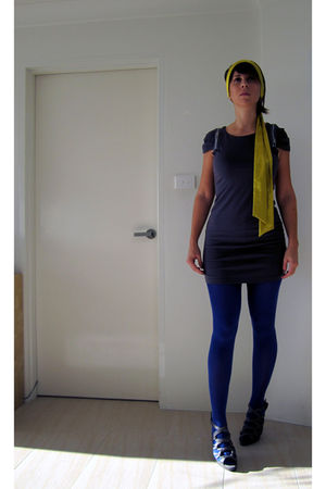 blue H&M tights - gray Spicysugar dress - gold supre scarf - gray Barkins shoes