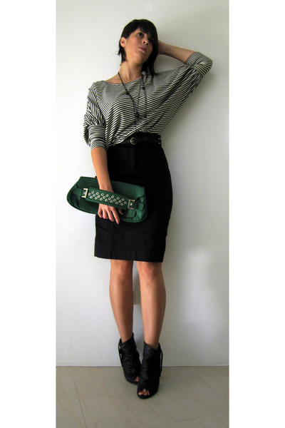 green Co-Lab by Christopher Kon purse - black Kookai skirt - black supre belt -