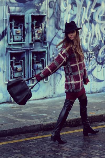 black otk Zara boots - black Old spitalfields market hat