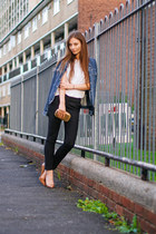 blue denim vintage jacket - tan patent leather Kurt Geiger shoes