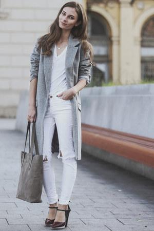 white skinny jeans Mango jeans - silver long F&F coat