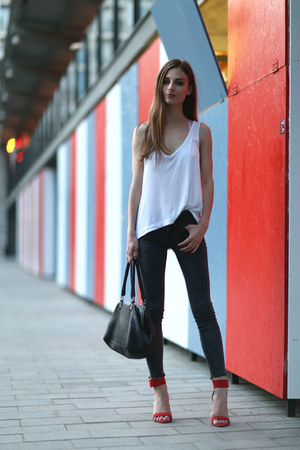 red Zara sandals - dark grey Primark jeans - selleria Fendi bag