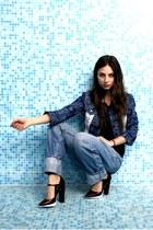 boyfriend jeans vintage jeans - kekfesto DIY jacket - H&M t-shirt - Zara heels