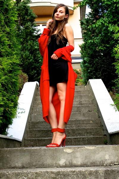 long cardigan vintage cardigan - strapless Topshop dress - Zara sandals