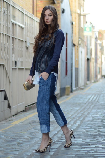 navy knit Marks & Spencer sweater - light blue H&ampM jeans