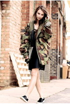 olive green vintage jacket - black Primark dress - silver silver clutch H&M bag
