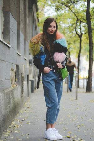 bubble gum multicolor fur River Island scarf