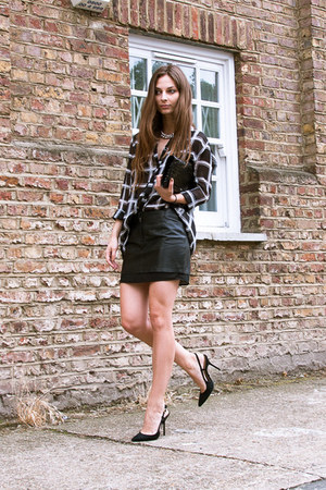 slingback Buffalo shoes - checked Primark shirt - leather H&M skirt