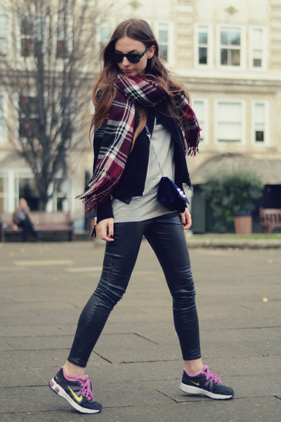 magenta Marks & Spencer scarf - black Mango jacket - navy velvet Zara bag