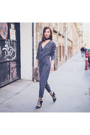 silver boiler suit H&M romper - olive green croc lace up Topshop shoes