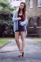 light blue knit Primark cardigan - Zara shoes - vintage bag