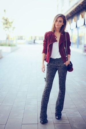 brick red suede biker jacket - black faux fur Primark bag