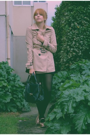 eggshell Stradivarius coat - bronze Eureka shoes - black H&M dress