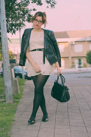 black asos shoes - off white pull&bear dress - black Lefties jacket