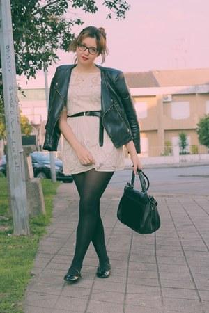 black asos shoes - off white pull&bear dress - black Lefties jacket