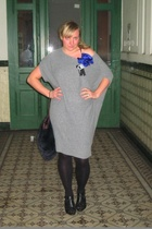 gray Koton dress - black shoes - blue BBrigitte - blue