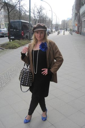 blue Street shoes - black H&amp;M dress - brown from my grandma vintage hat