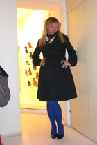 blue falke - black H&M coat - black vintage - black vintage dress - black - brac
