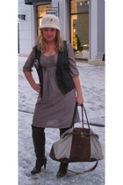 beige Springfield dress - gray Blind date vest - purple Promod accessories - bro