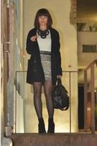 silver Mango skirt - black mbym coat - off white Zara sweater