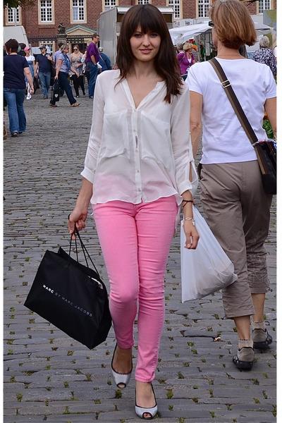 9b376eaec499a bubble gum H M jeans - white Zara blouse - silver Giuseppe Zanotti pumps