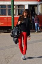 red Mango pants - black Zara blazer - black Givenchy bag
