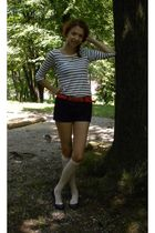 white Topshop earrings - white H&M top - black H&M shorts - black handmade by ni